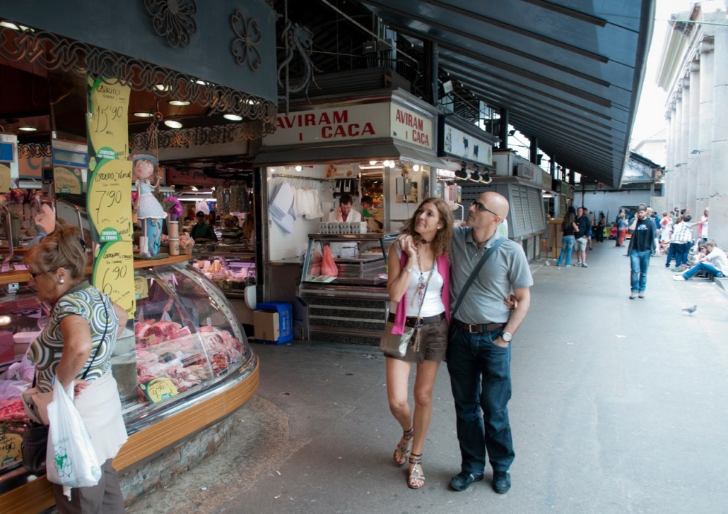 La Boqueria, the enormous food market with its magnificent modernist iron roof. This is one of the most visually stunning markets I've ever seen. We strolled up and down every aisle, getting hungry.