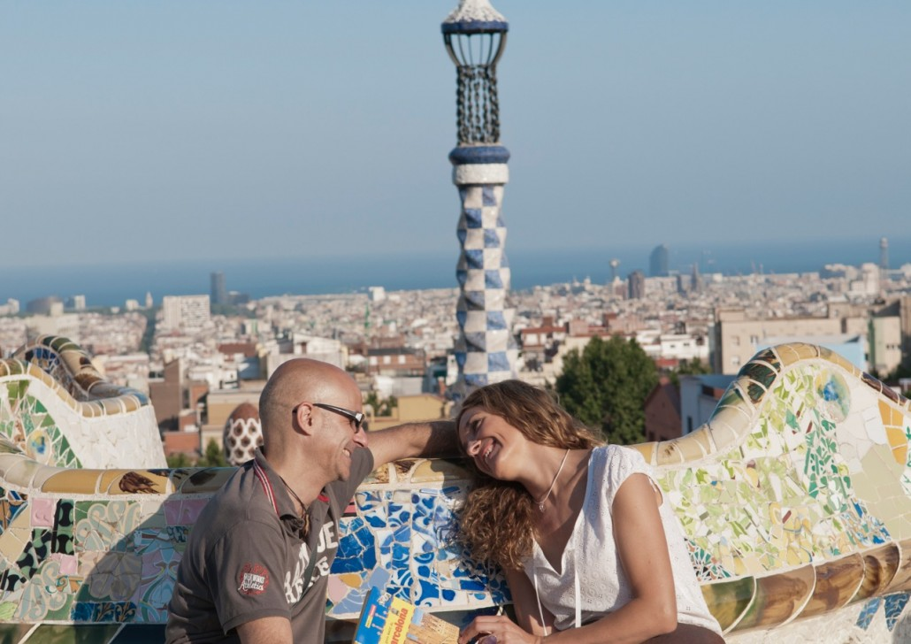 Park Güell, begun by Antoni Gaudí  in 1900. Evidently it was never finished but it's got that elegant whimsy so typical of Gaudí. I loved the two Hansel and Gretel entrance pavilions and the mosaic dragon.