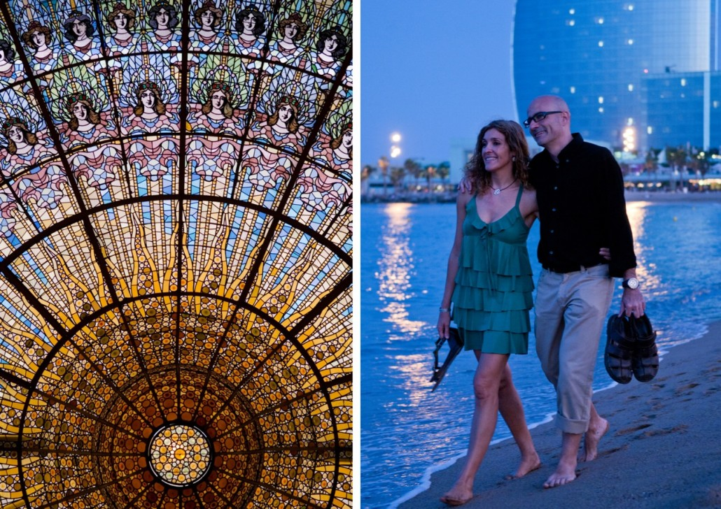 On the left: the stained-glass ceiling of the Palau de la Música catalana demonstrates the astonishing attention to detail that you find in this auditorium, designed by LluÌs DomËnech i Montaner, where every surface is adorned with color, texture and relief.  On the right: walking along the shore at Barceloneta.