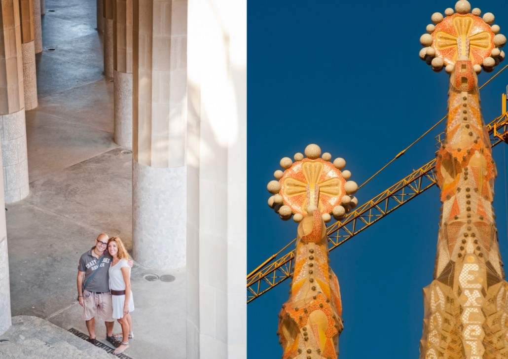 On the left: Carme and Tomi visiting Park Güell, begun by Antoni Gaudí  in 1900. On the right: a detail of the Sagrada Familia.