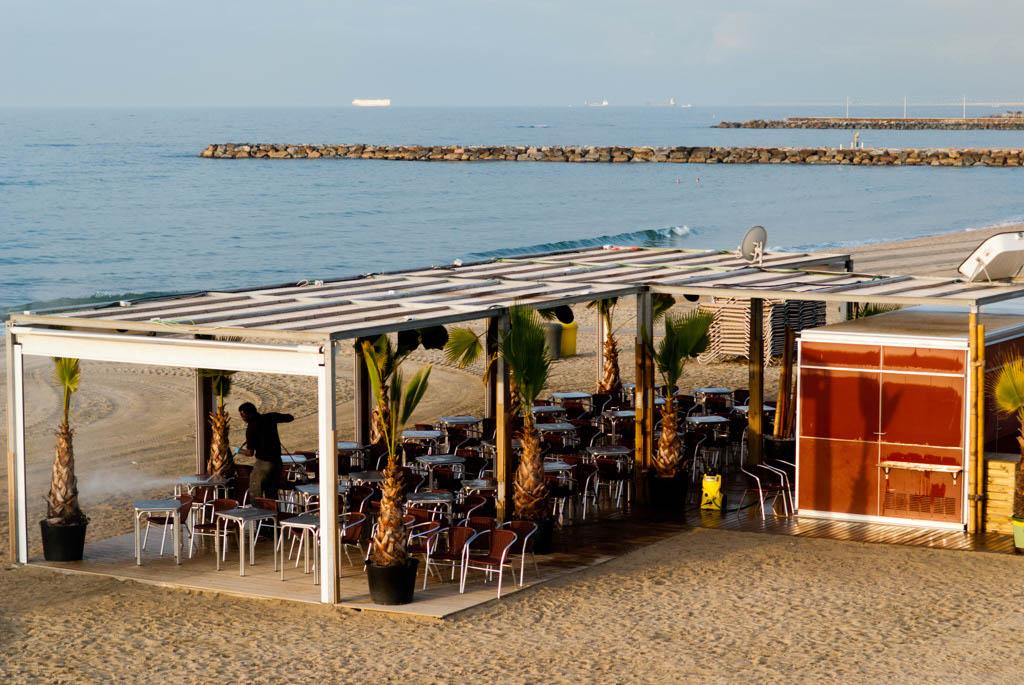 Beach of Barcelona, Spain. A beach bar (chiringuito)