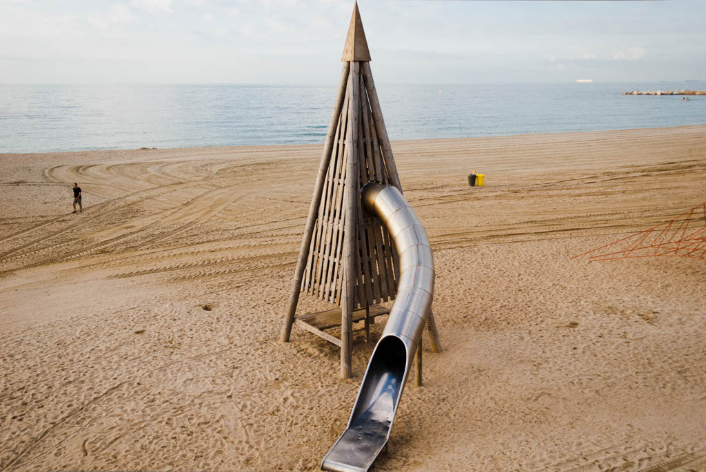Beach of Barcelona, Spain. Games for children in front of the seaside