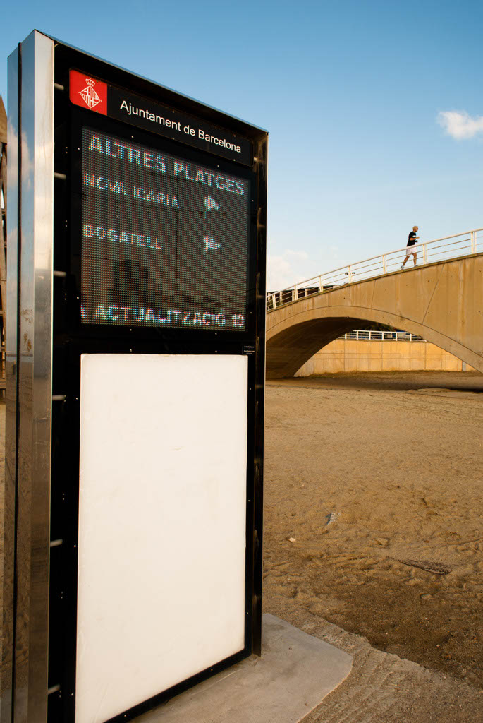 Beach of Barcelona, Spain. Information screen about the weather and services