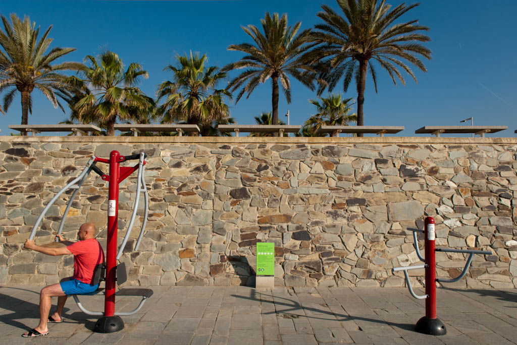 Beach of Barcelona, Spain. People in the fitness area