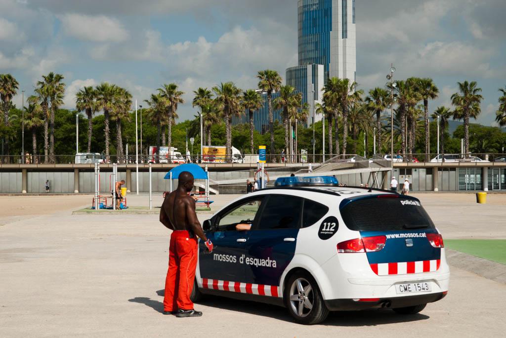 Beach of Barcelona, Spain. Police control of the area