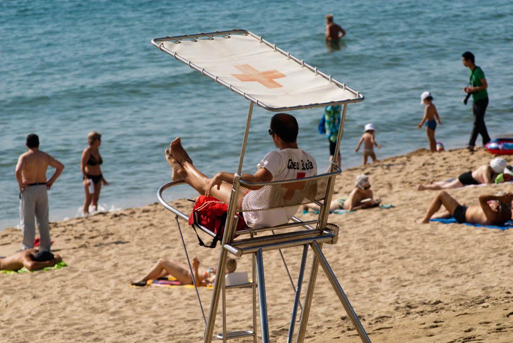 Beach of Barcelona, Spain. Baywatching