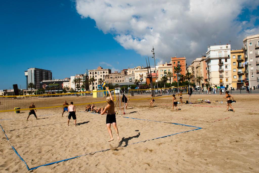 Beach of Barcelona, Spain. Playing boleyball