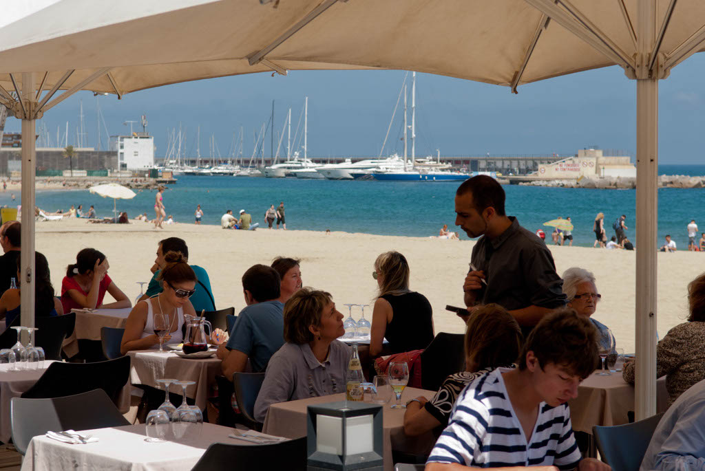 Beach of Barcelona, Spain. A restaurant on the beach (chiringuito in Spanish language)