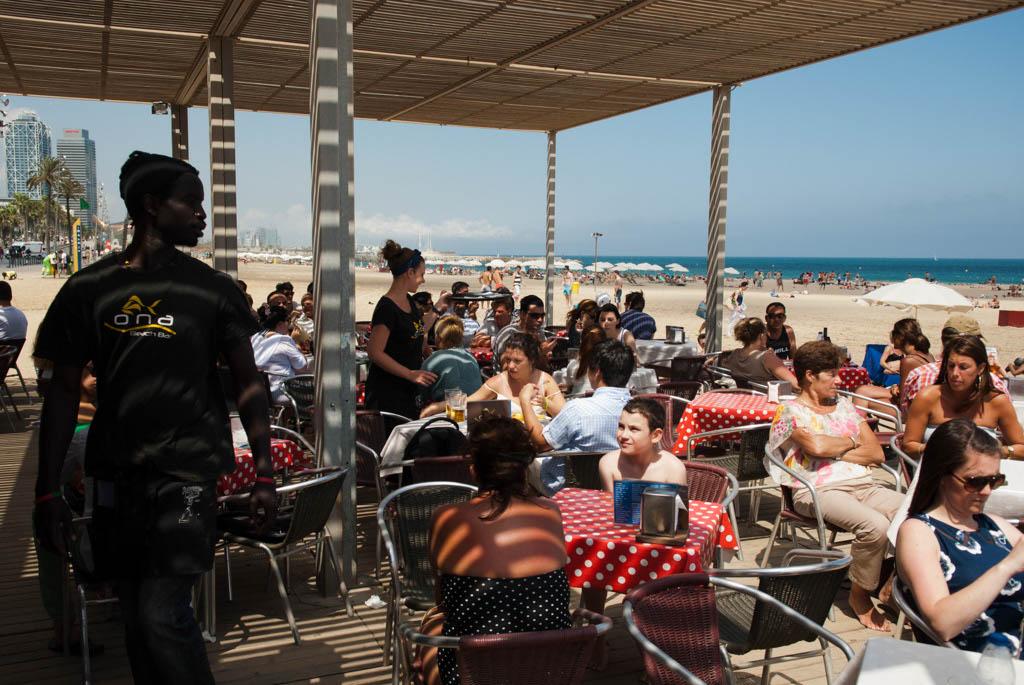 Beach of Barcelona, Spain. The Ona Restaurant on the beach