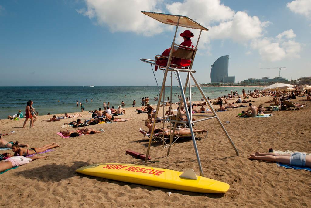 Beach of Barcelona, Spain. Baywatching on the beach