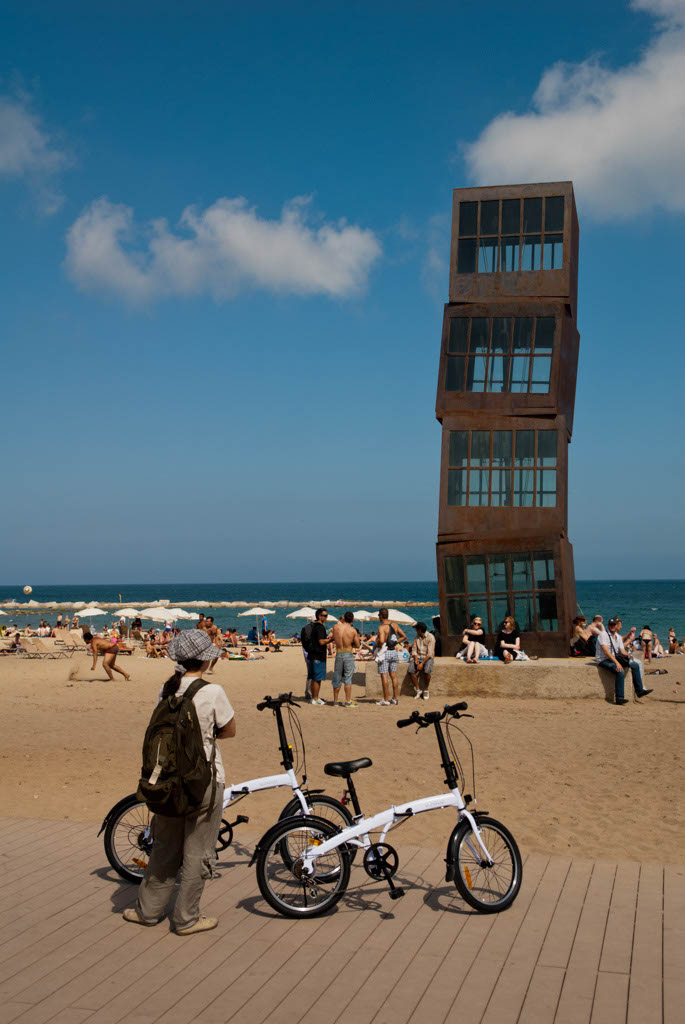 Beach of Barcelona, Spain. The famous sculpture Estel Ferit (the Injured Comet)