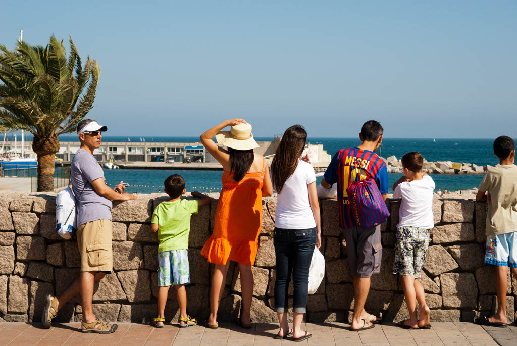 Beach of Barcelona, Spain. Watching the sea of Barcelona from the promenade