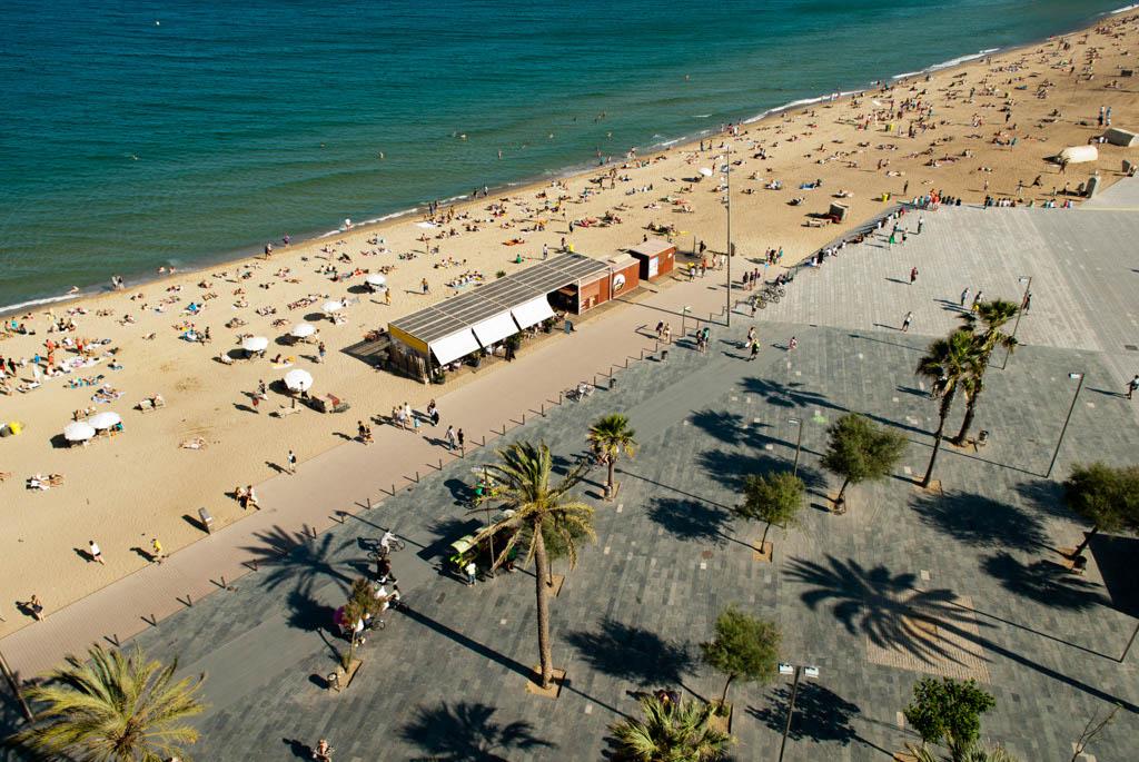 Beach of Barcelona, Spain. A bird view of the beach