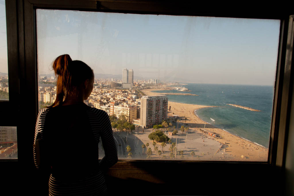 Beach of Barcelona, Spain. View of the beach from the funicular
