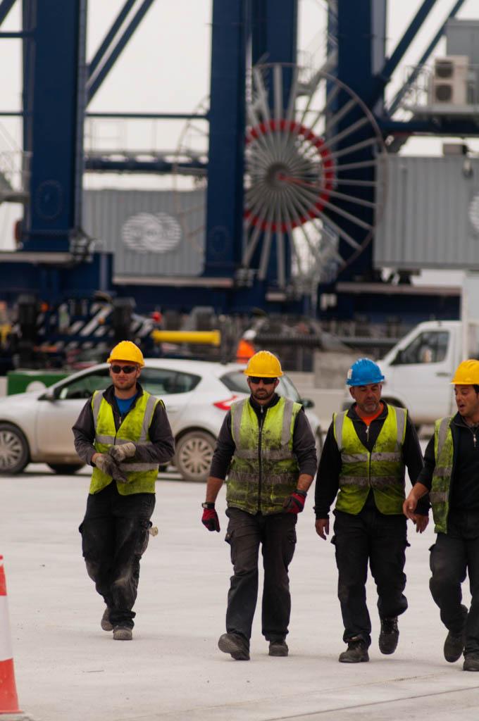View of the Port of Barcelona. Tercat new terminal. Operators