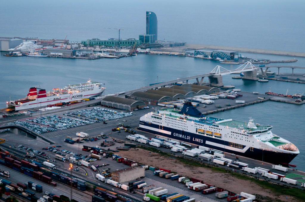 View of the Port of Barcelona. Ferry terminal