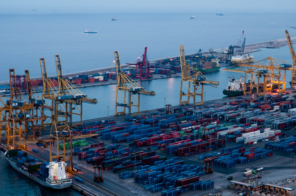 View of the Port of Barcelona. TBC terminal