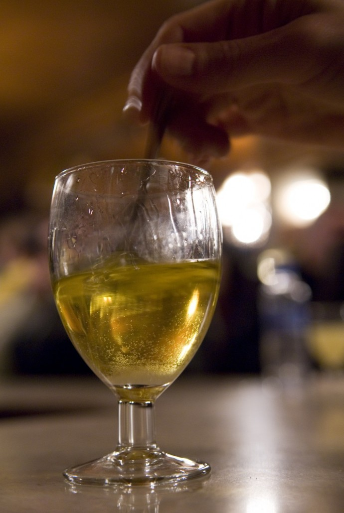 The absinthe drink at Bar Marsella in Barcelona