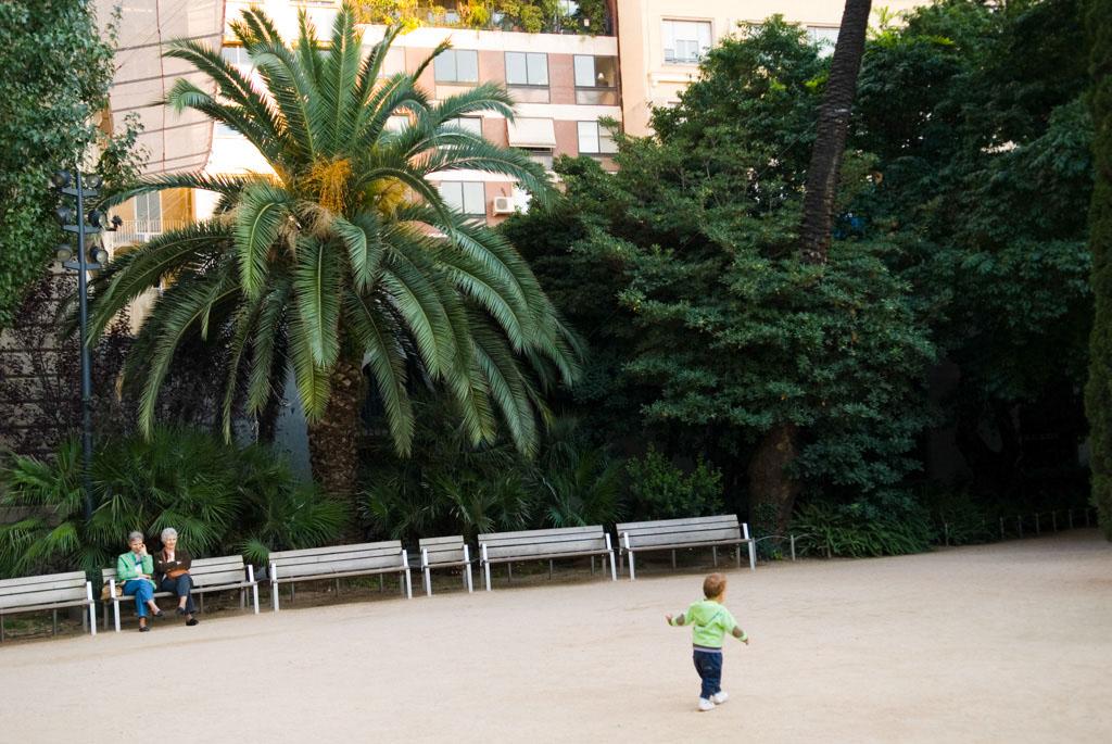 Spain, Barcelona. The Gardens and Public Courtyards: the garden of the Palau Robert at Paseo de Gracia 105.