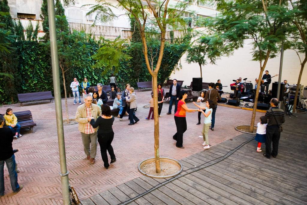 Spain, Barcelona. The Gardens and Public Courtyards: Sunday social dance at the Garden Sebastià Gasch (c/Rocafort, 87).