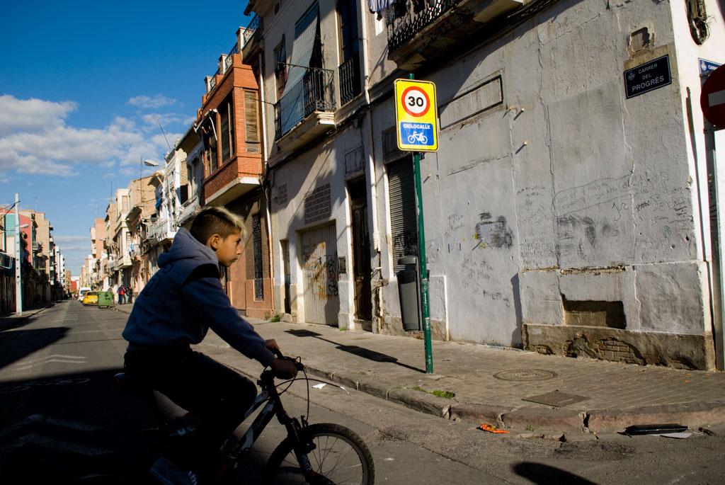 Valencia, Spain. The seaside neighborhood Cabanyal.