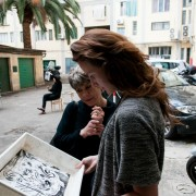 Cliché Verre. A workshop in Florence. Students of University of Arts taking part in a workshop on Cliché Verre, a combination of art and photography.Teacher Maria Fabiola Ungredda.