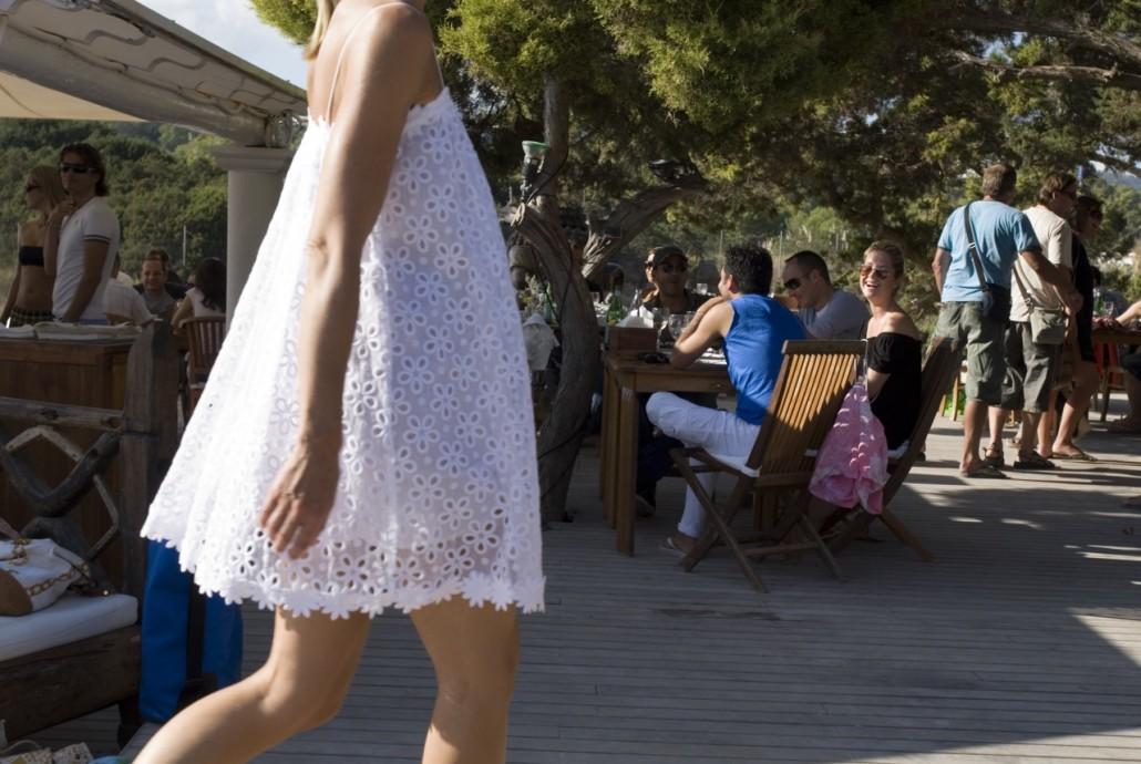 Blue Marlin Beach club on Playa Es Jondal in San Jose