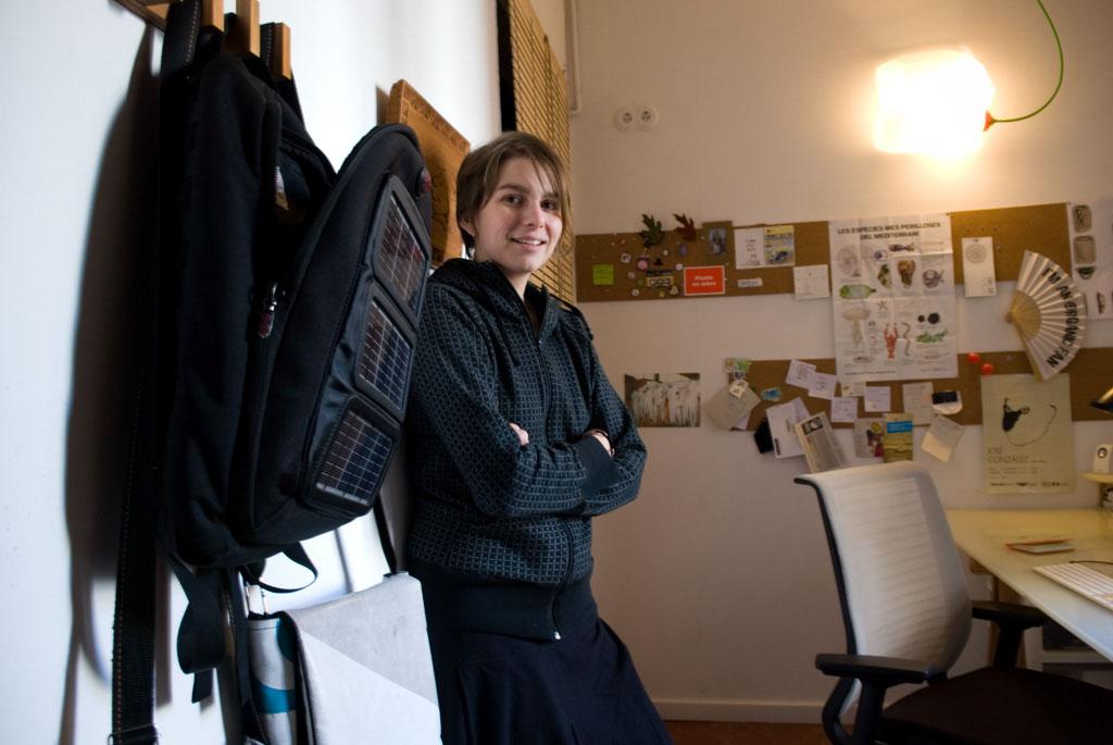 Sustainable designer Petz Scholtus in her studio, next to Voltaic solar bag