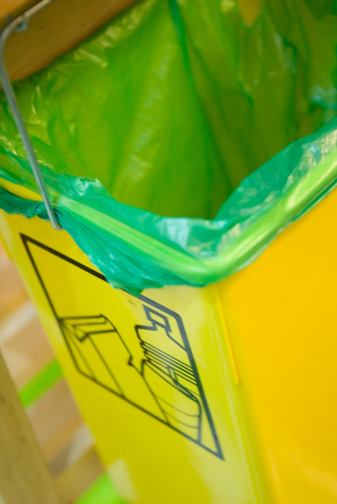 yellow container recycling plastic bin (kitchen detail)