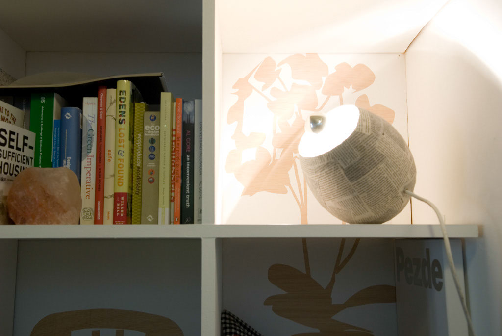R3project Never-Empty-Shelf and hand-made Egg Lamp made from newspaper by Mexican designer Gustavo Pérez