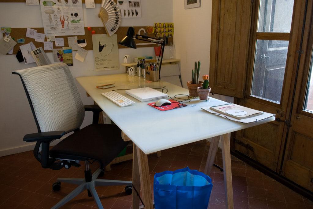 studio of sustainable designer Petz Scholtus; recycled table top, orgininal floor tiles, Think chair by Steelcase (Cradle to Cradle certificate)