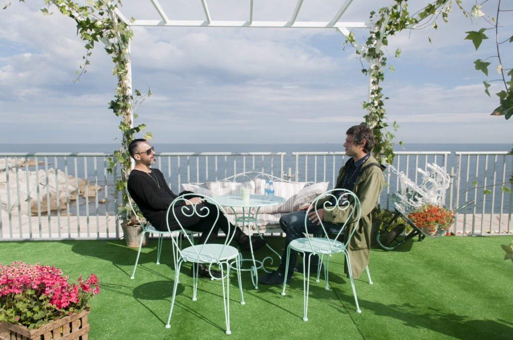 Barcelona, Spain. Primavera Sound 2014. Pablo Soler, director of Primavera Sound (right) and Fra Soler, promoter of the Festival, at the VIP area of the place.