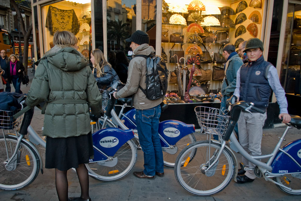 Valencia, Spain. Valencia has adopted a public bike rental system.