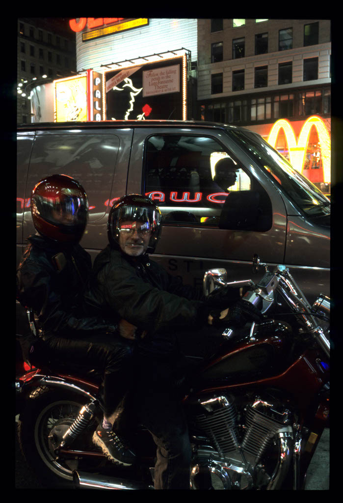On a motorBike at Time Square
