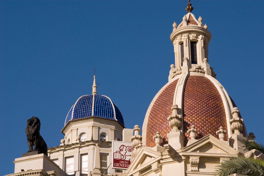 Buildings details at the Plaza del Ayuntamiento, Valencia, Spain