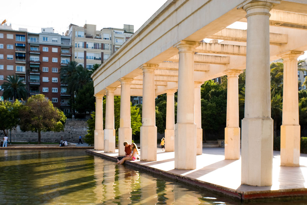 Jardines del Turia. A park runs along an axis of the former bed of the River Turia, Valencia, Spain.