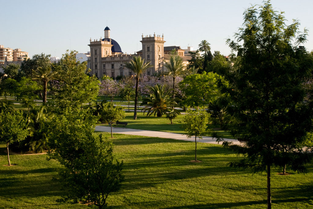 Museum of Bellas Artes San Pio V. A park runs along an axis of the former bed of the River Turia, Valencia, Spain.